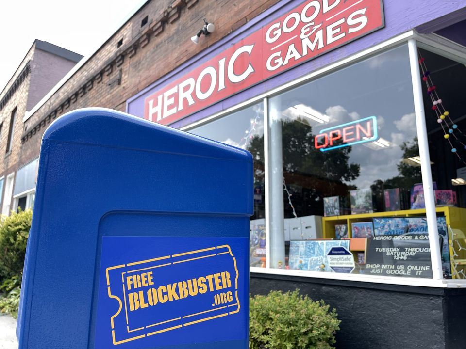 A Free Blockbuster box outside Heroic Goods & Games in south Minneapolis