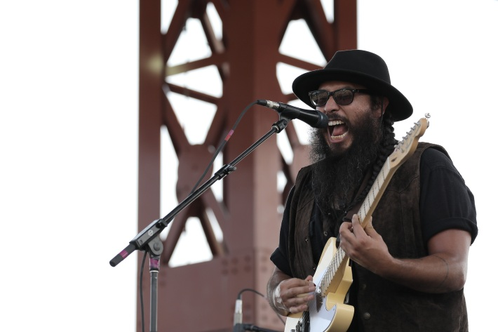 Corey Medina at the Water Is Life concert in Duluth