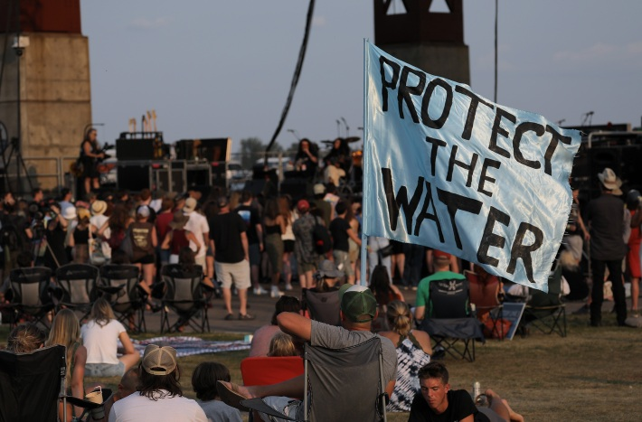 The crowd at the Water Is Life concert in Duluth