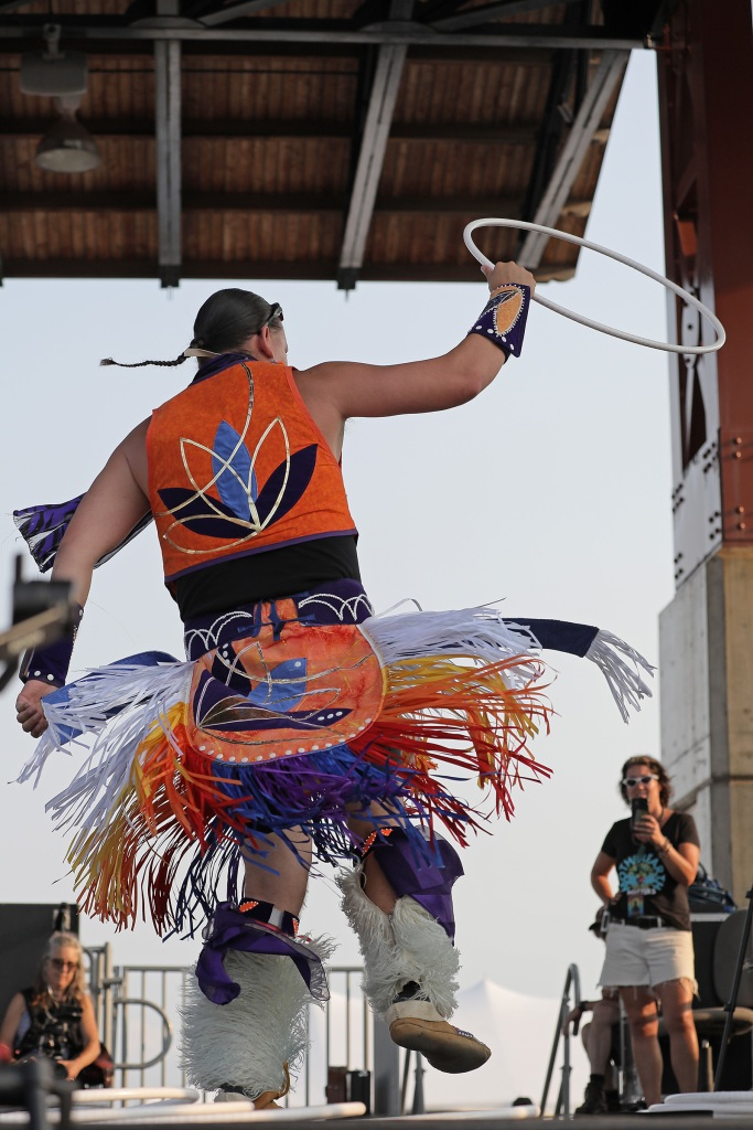 A dancer at the Water Is Life concert in Duluth