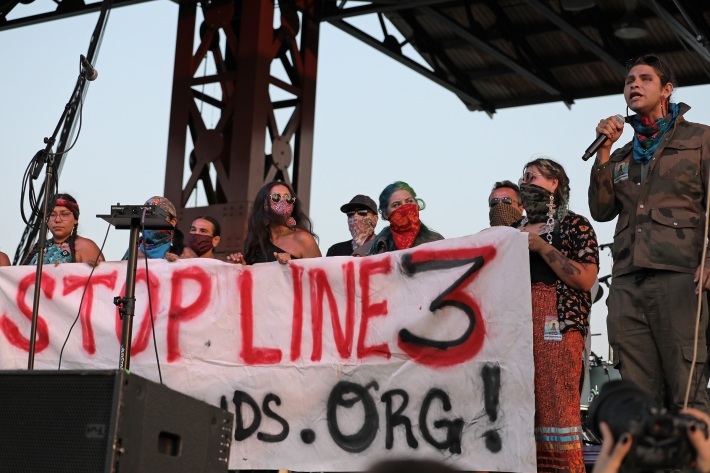 Water protectors at the Water Is Life concert in Duluth