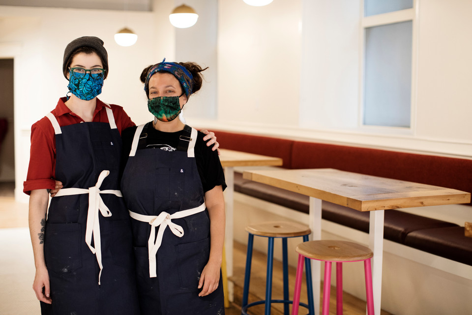 Hark Cafe co-owners Katherine Parduesaid and Lisa Neumann stand side by side