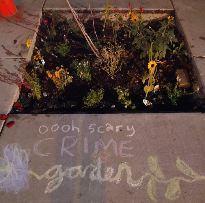 Activists planted a garden in Uptown Minneapolis.