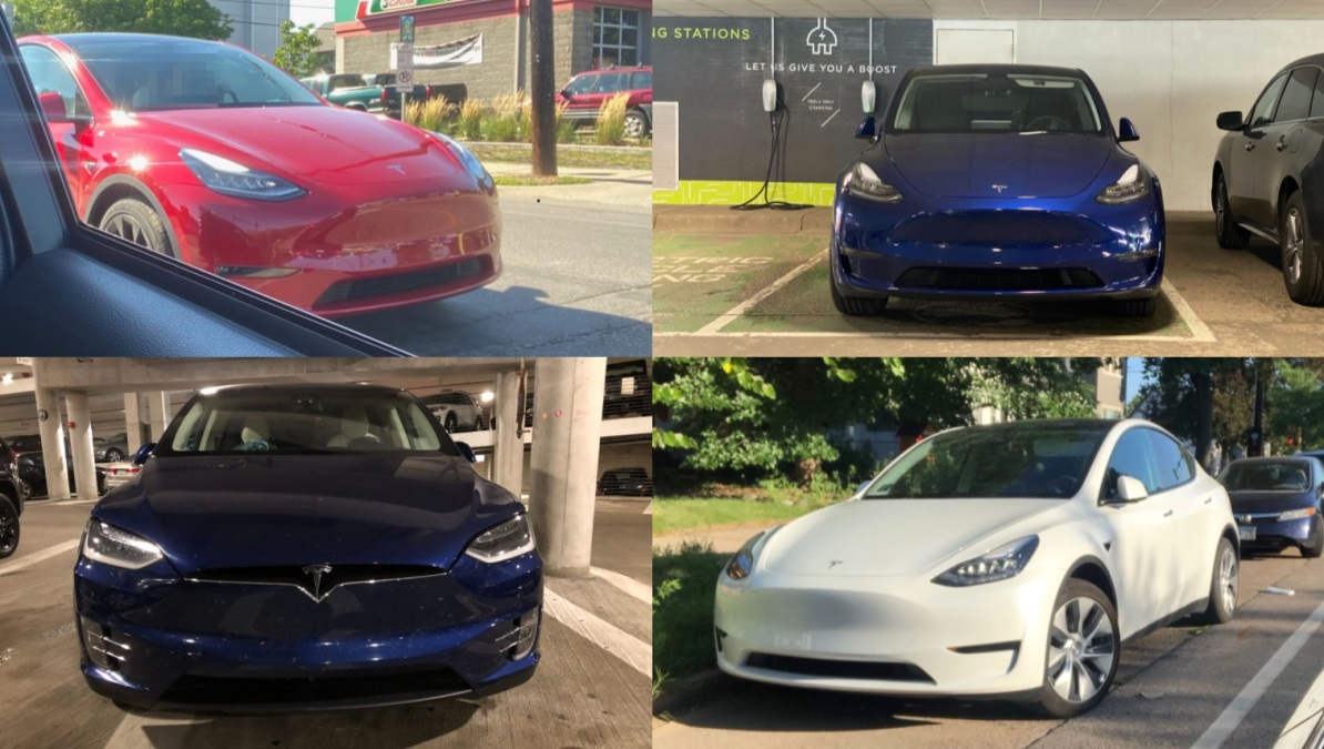 four teslas: one red, one white, and two blue. none of them have front license plates.