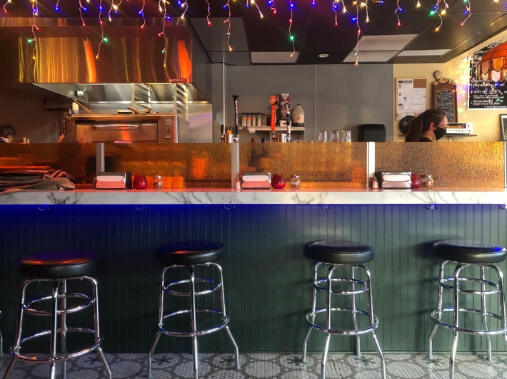 The counter seating at Good Times