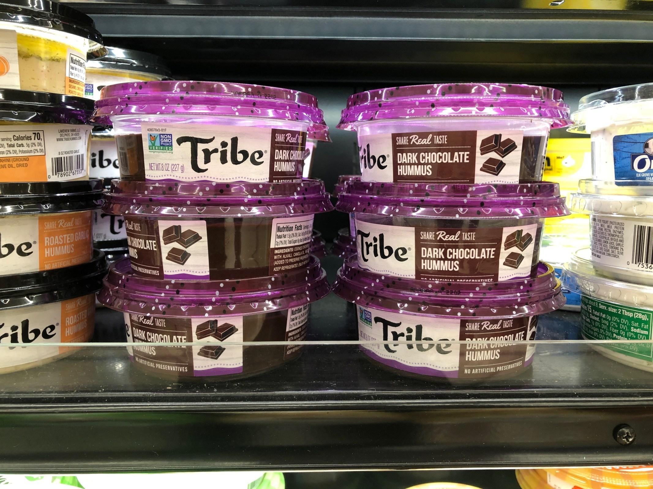 tribe brand dark chocolate hummus at cub supermarket